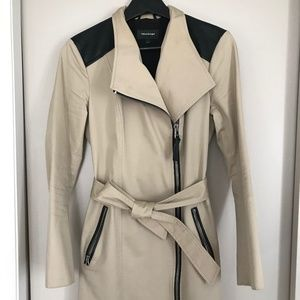 Mackage leather trimmed trench coat size XS